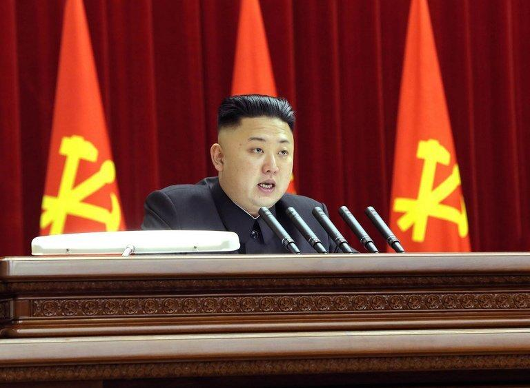 "North Korean leader Kim Jong-Un at a Workers' Party of Korea meeting in Pyongyang, March 31, 2013. At the meeting the leadership insisted that the country's nuclear arsenal be beefed up ""qualitatively and quantitatively"""