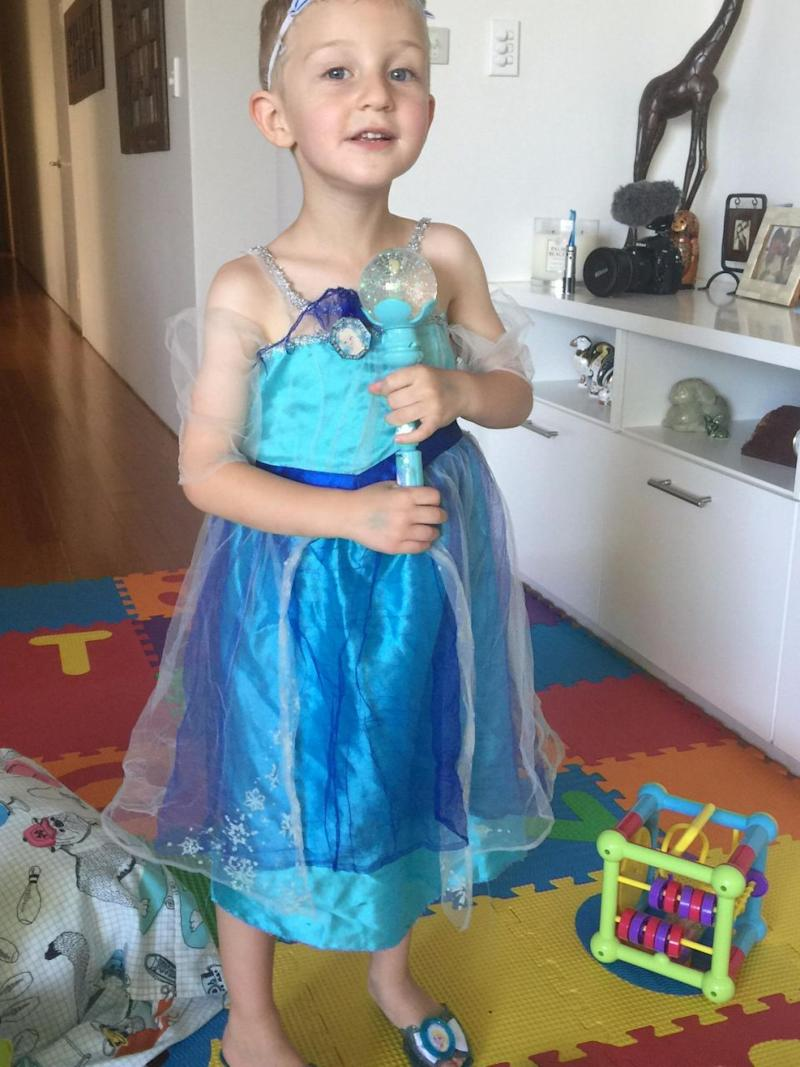 Noah, wearing his favourite Elsa dress and shoes. Source: Supplied