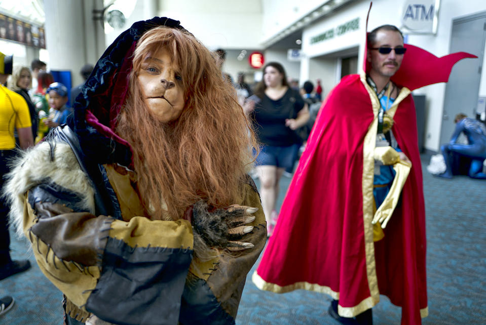 <p>Andrea Seale, from Burbank, Calif., dressed as Vincent from <em>Beauty and the Beast</em> at Comic-Con International on July 19, 2018, in San Diego. (Photo: Richard Vogel/AP) </p>