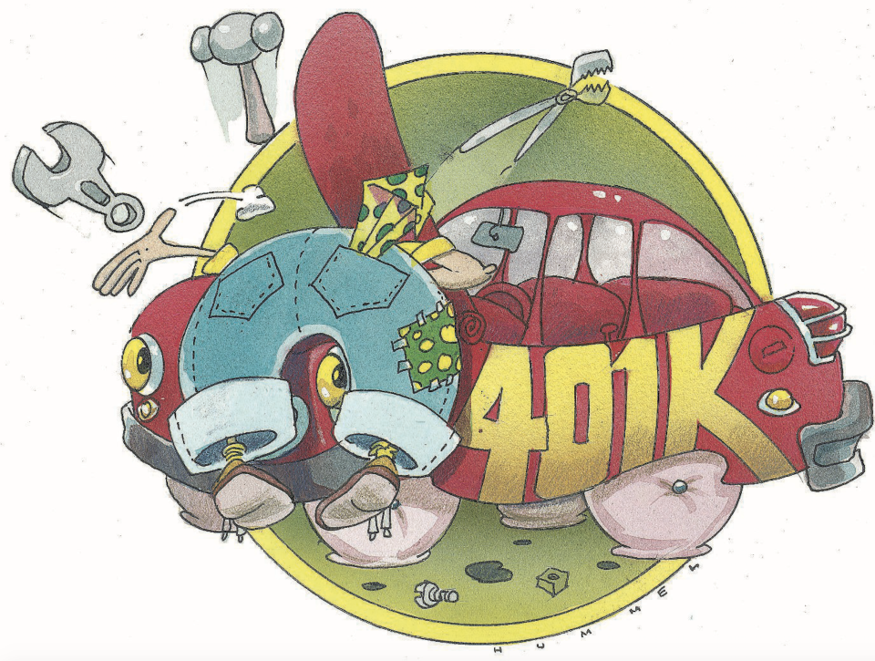 """Jim Hummel color illustration of mechanic trying to fix car labeled """"401k"""". (Photo: Bay Area News Group/Tribune News Service via Getty Images)"""