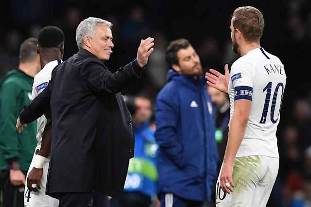 Mourinho congratulates Kane after the final whistle (Photo by BEN STANSALL/AFP via Getty Images)