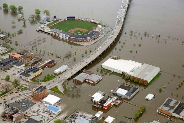 PHOTO: Downtown Davenport, Iowa, and the surrounding area is covered by Mississippi River floodwaters, May 3, 2019. (Kevin E. Schmidt/Quad City Times via AP)