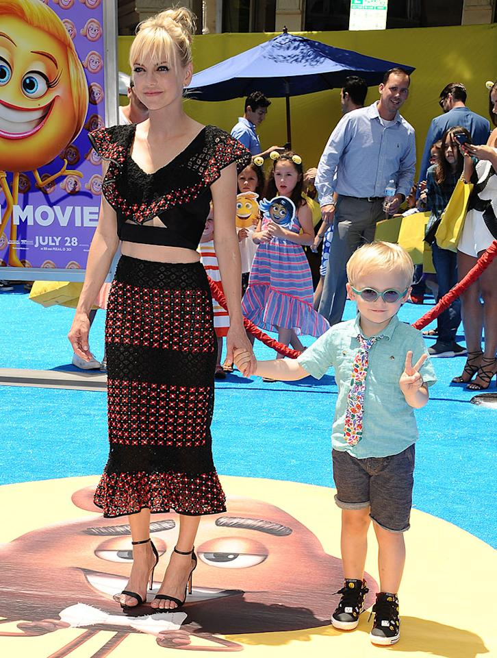 """<p>Peace! While the bespectacled Jack Pratt was on hand when his dad, Chris Pratt, got a <a rel=""""nofollow"""" href=""""https://www.yahoo.com/tv/chris-pratt-receives-walk-fame-202800250.html"""">star on the Hollywood Walk of Fame</a>, he made his red carpet debut with mom, who voices Jailbreak in the movie. If he looks like he enjoys the limelight, you're right. """"He loves attention just like mommy,"""" Faris <a rel=""""nofollow"""" href=""""http://www.etonline.com/news/222235_exclusive_anna_faris_dishes_on_son_jacks_first_red_carpet_he_loves_attention_just_like_mommy/"""">told</a> <em>Entertainment Tonight</em> on the carpet. (Photo: Jason LaVeris/FilmMagic) </p>"""