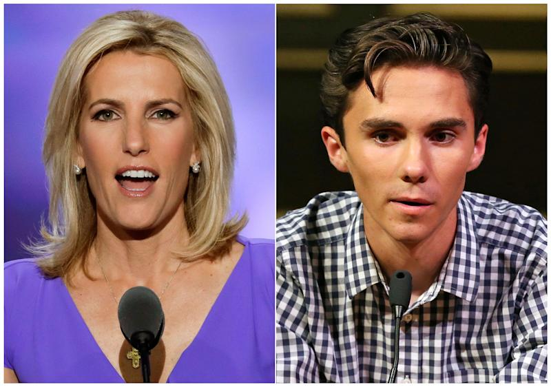 In this combination photo, Fox News personality Laura Ingraham speaks at the Republican National Convention in Cleveland on July 20, 2016, left, and David Hogg, a student survivor from Marjory Stoneman Douglas High School in Parkland, Fla., speaks at a rally for common sense gun legislation in Livingston, N.J. on Feb. 25, 2018. Some big name advertisers dropped Ingraham after she publicly criticized Hogg, a student at Marjory Stoneman Douglas school on social media. ORG XMIT: NYET415