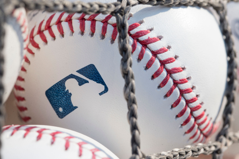 PHILADELPHIA, PA - JUNE 28: A baseball with MLB logo is seen at Citizens Bank Park.