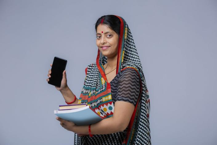 Indian Ethnicity, Real People, Rural Scene, Middle Class, Women, Lifestyle, White Background,