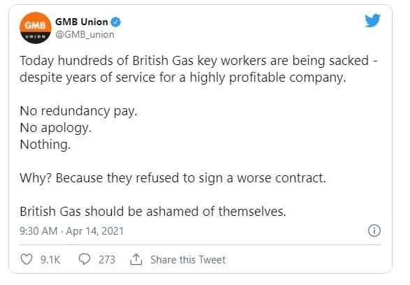 Union condemns 'mass sacking' of British Gas engineers amid contracts row