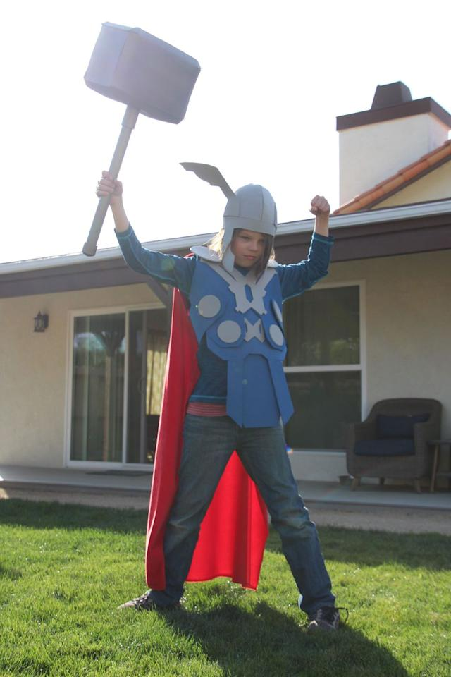 """<p>Your child will be the envy of their friends in this <a href=""""https://www.countryliving.com/diy-crafts/g28701362/diy-avengers-costume/"""">movie</a>-inspired superhero costume. What's more, you'll love that it's no-sew and simple to make.</p><p><strong>Get the tutorial at <a href=""""https://highlightsalongtheway.com/no-sew-costumes/"""" target=""""_blank"""">Highlights Along the Way</a>.</strong></p><p><strong><a class=""""body-btn-link"""" href=""""https://www.amazon.com/Fibre-Craft-Foam-Sheets-2-Inch-50-Pack/dp/B00284NN82/?tag=syn-yahoo-20&ascsubtag=%5Bartid%7C10050.g.21345654%5Bsrc%7Cyahoo-us"""" target=""""_blank"""">SHOP FOAM SHEETS</a><br></strong></p>"""