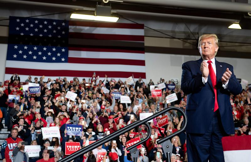 """President Donald Trump leads a """"Keep America Great"""" campaign rally at Wildwoods Convention Center in Wildwood, N.J., on Jan. 28."""