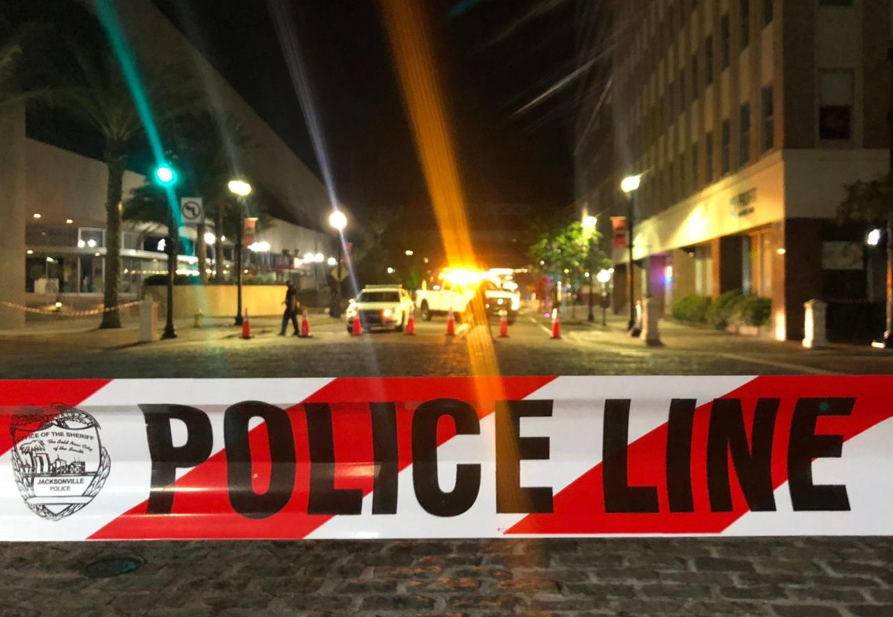 <p>This photo shows a police car behind police tape blocking a street leading to the Jacksonville Landing area in downtown Jacksonville, Fla., Aug. 26, 2018. (Photo: Joe Raedle/Getty Images) </p>