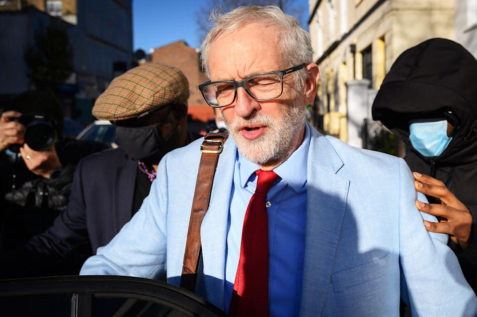 LONDON, ENGLAND - NOVEMBER 18: Former Labour party leader Jeremy Corbyn leaves his home on November 18, 2020 in London, England. Corbyn, former Labour Leader and MP for Islington North was suspended by the current Labour leader, Sir Keir Starmer, for downplaying the findings of the the Equalities and Human Rights Commission after it published a report into anti-semitism in the Labour Party. It found that the party had broken the law under Jeremy Corbyn's tenure as leader. 19 days after the suspension it has been overturned after a meeting of Labour's National Executive Committee with Starmer refusing to re-instate the party whip. (Photo by Leon Neal/Getty Images)