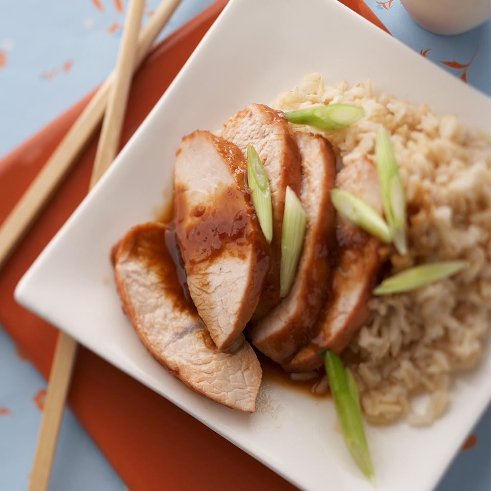 <p>Slices of lean turkey breast tenderloin are flavored with hoisin sauce, soy and ginger. This dinner recipe is cooked in a pressure cooker and ready in just 15 minutes.</p>