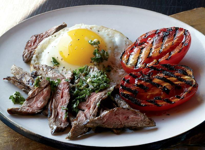 Paleo steak & eggs with chimichurri
