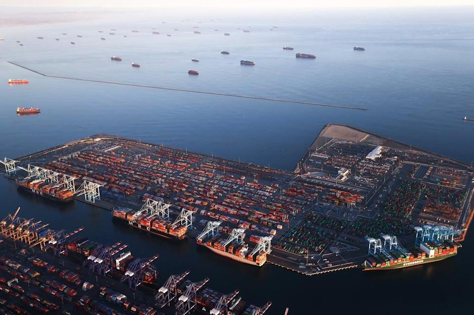 Container ships are anchored by the ports of Long Beach and Los Angeles as they wait to offload on 20 September, 2021 (Getty Images)
