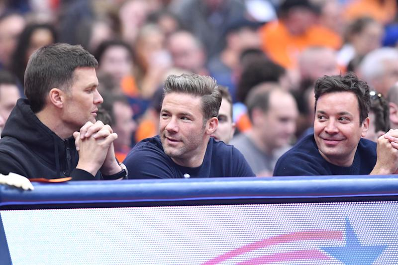 Tom Brady (left), Julian Edelman (center) and Jimmy Fallon attend a game between the Syracuse Orange and the North Carolina Tar Heels at the Carrier Dome on Saturday.