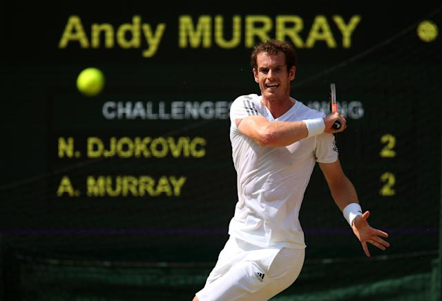 LONDON, ENGLAND - JULY 07: Andy Murray of Great Britain plays a forehand during the Gentlemen's Singles Final match against Novak Djokovic of Serbia on day thirteen of the Wimbledon Lawn Tennis Championships at the All England Lawn Tennis and Croquet Club on July 7, 2013 in London, England. (Photo by Julian Finney/Getty Images)