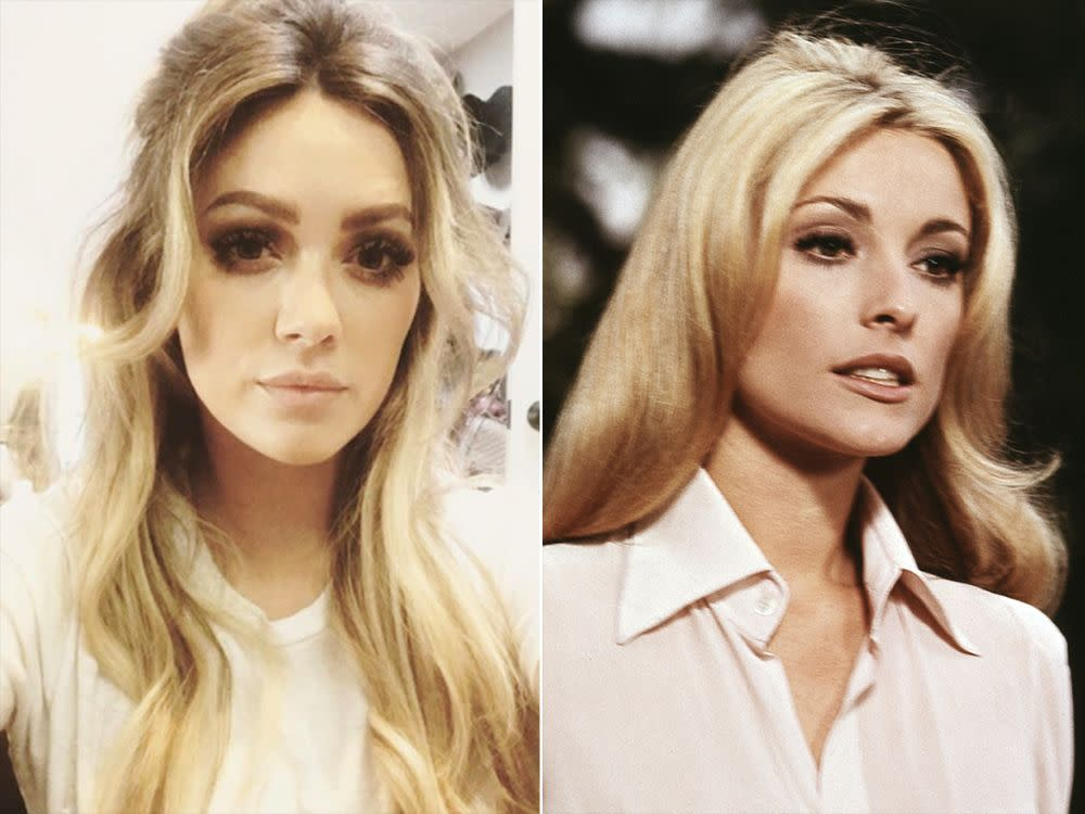 Hilary Duff (left) dressed as Sharon Tate (right) for the film <em>The Haunting of Sharon Tate</em>