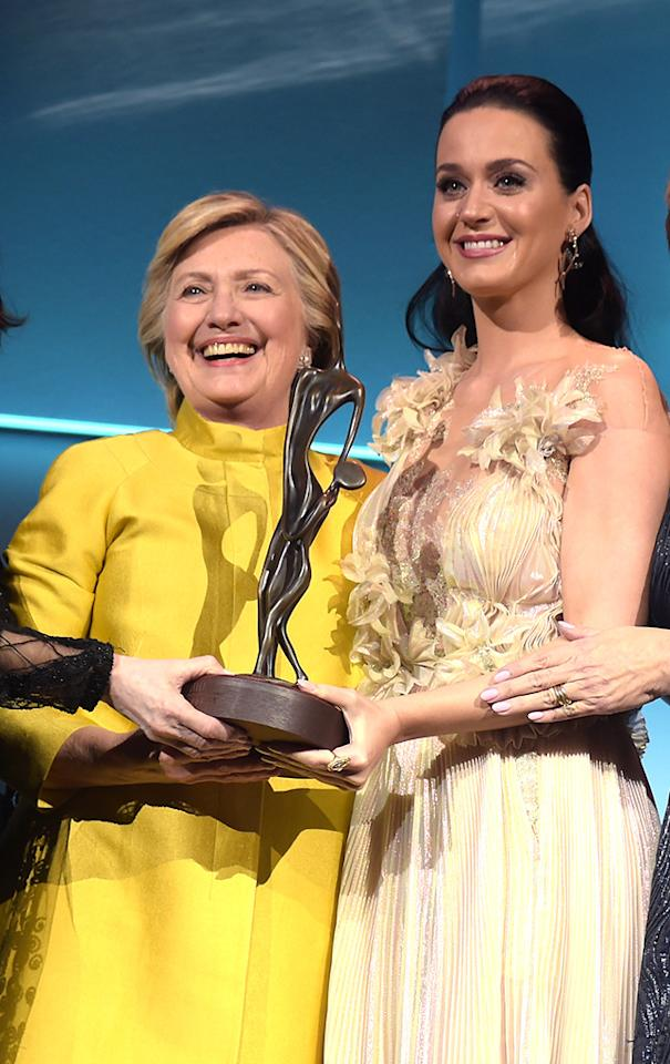 "<p>Just a few weeks after the election, Clinton presented her pal Katy Perry with the Audrey Hepburn Humanitarian Award at UNICEF's Snowflake Ball. ""We need champions like Katy now more than ever: her passion, her energy, and, yes, her voice, louder than a lion,"" Clinton said of the ""Roar"" singer. (Photo: Jason Kempin/Getty Images for UNICEF) </p>"
