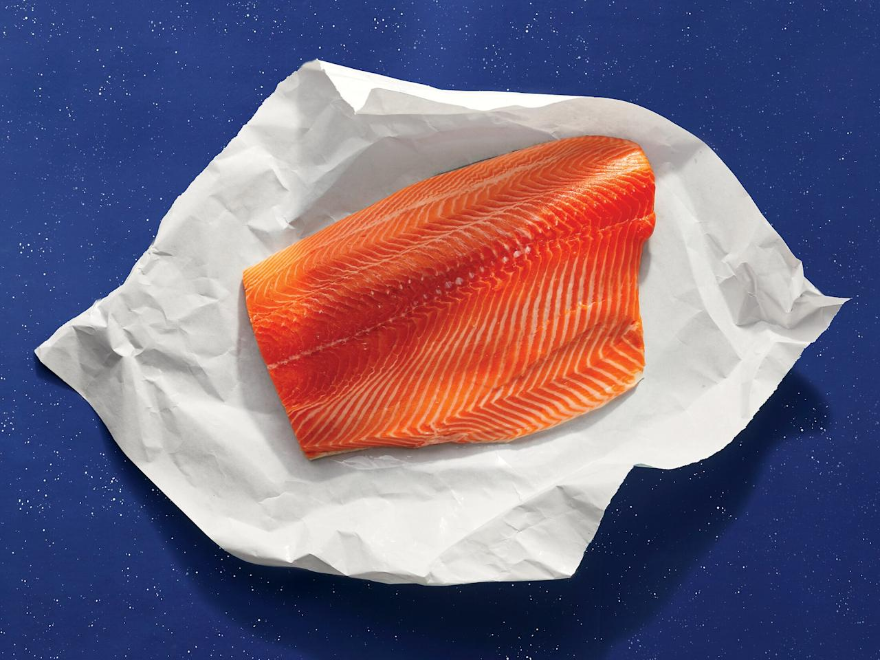 """<p><strong>Buy Center-Cut Fillets for Uniform Thickness</strong></p> <p>Tail pieces are thinner and tend to overcook and may taste fishier due to the more prominent blood line.</p> <p><strong>Know the Differences Between Farm-Raised and Wild-Caught</strong></p> <p>Farm-raised salmon tends to be fattier, which helps it stay juicy. Its flavor is also milder than wild, which veers more savory and complex. In terms of sustainability, check <a href=""""http://www.seafoodwatch.org/"""" target=""""_blank"""">seafoodwatch.org</a>, the Monterey Bay Aquarium Seafood Watch site, for up-to-date recommendations on all the seafood featured here.</p>"""