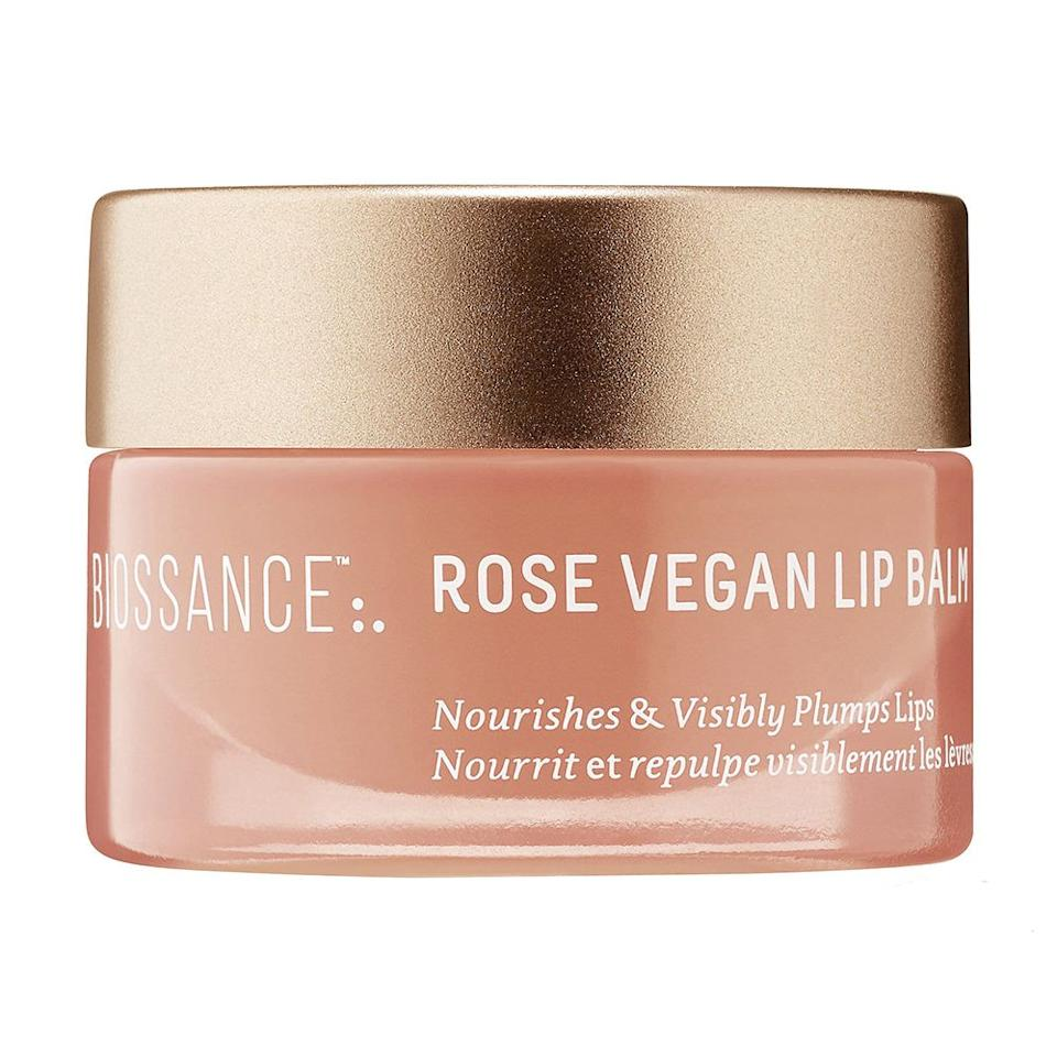 """<p><strong>Biossance</strong></p><p>sephora.com</p><p><strong>$18.00</strong></p><p><a href=""""https://go.redirectingat.com?id=74968X1596630&url=https%3A%2F%2Fwww.sephora.com%2Fproduct%2Fsqualane-rose-vegan-lip-balm-P448210&sref=http%3A%2F%2Fwww.bestproducts.com%2Fbeauty%2Fg26789214%2Fnew-beauty-products%2F"""" target=""""_blank"""">Shop Now</a></p><p>If you're like us, then you're addicted to lip balms and lip tints — which is why we're so excited for this new launch from Biossance. The clean, petroleum-free formula plumps up your pout with hyaluronic acid, and delivers a healthy dose of shine and hydration, too!</p><p><strong>More:</strong> <a href=""""https://www.bestproducts.com/beauty/g1190/best-organic-lip-balm/"""" target=""""_blank"""">Organic Lip Balms We Love</a></p>"""