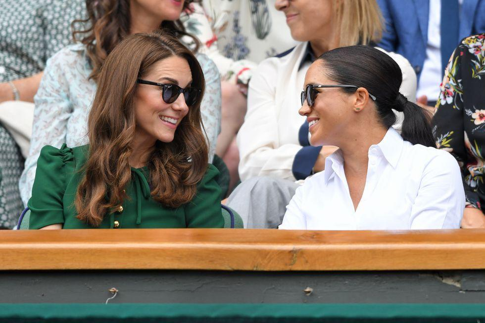 "<p>Duchesses Meghan and Kate are making <a href=""https://www.townandcountrymag.com/society/tradition/g10241217/royal-family-wimbledon/"" target=""_blank"">joint Wimbledon appearances</a> an annual affair. The two women just arrived in the royal box together, and are there to watch as Meghan's close friend Serena Williams takes on Romanian tennis player Simona Halep for the women's title. This morning's outing <a href=""https://www.townandcountrymag.com/style/fashion-trends/a22145209/kate-middleton-polka-dot-dress-wimbledon-2018-photos/"" target=""_blank"">is similar to one they made last year</a>, just a few weeks after Meghan and Harry tied the knot, only today's outing also includes Kate's sister Pippa. </p><p>See all the photos of Meghan and Kate at the competition right here. </p>"
