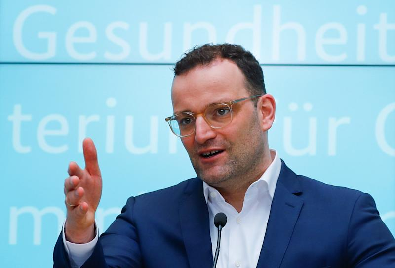 German Health Minister Jens Spahn addresses a news conference during the spread of the coronavirus disease (COVID-19) in Berlin, Germany, March 19, 2020. REUTERS/Fabrizio Bensch