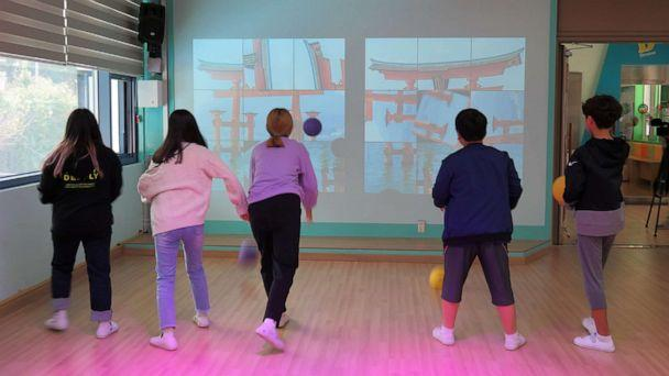 PHOTO: Students engage in Mixed Reality (MR) sports game at Tae Sung Dong Elementary School in Paju, South Korea, Sept. 30, 2019. (Hansol Park)