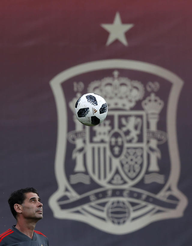Spain's head coach Fernando Hierro eyes the ball during a training session of Spain at the 2018 soccer World Cup in Krasnodar, Russia, Sunday, June 17, 2018. (AP Photo/Manu Fernandez)