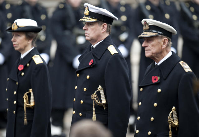 The Duke of York (centre) could still show up at events like Remembrance Sunday (PA)