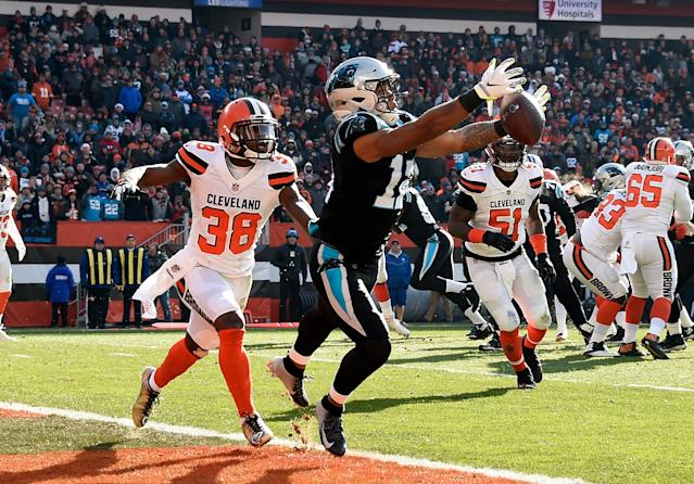 <p>D.J. Moore #12 of the Carolina Panthers can't make a catch in front of T.J. Carrie #38 of the Cleveland Browns during the first quarter at FirstEnergy Stadium on December 9, 2018 in Cleveland, Ohio. (Photo by Jason Miller/Getty Images) </p>