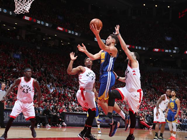 TORONTO, CANADA - JUNE 2: Klay Thompson #11 of the Golden State Warriors shoots the ball against the Toronto Raptors during Game Two of the NBA Finals on June 2, 2019 at Scotiabank Arena in Toronto, Ontario, Canada. (Photo by Nathaniel S. Butler/NBAE via Getty Images)