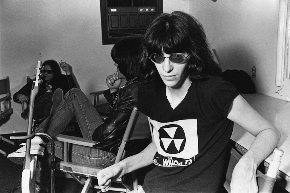 <p>Joey Ramone backstage at the Paradise Theater (now the Paradise Rock Club) in Boston, Massachusetts, March 22, 1978. In the background are bassist Dee Dee Ramone and drummer Tommy Ramone.</p>