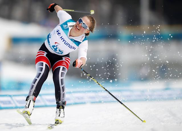 Cross-Country Skiing - Pyeongchang 2018 Winter Paralympics - Women's 15km Free - Visually Impaired - Alpensia Biathlon Centre - Pyeongchang, South Korea - March 12, 2018 - Carina Edlinger of Austria competes. REUTERS/Carl Recine