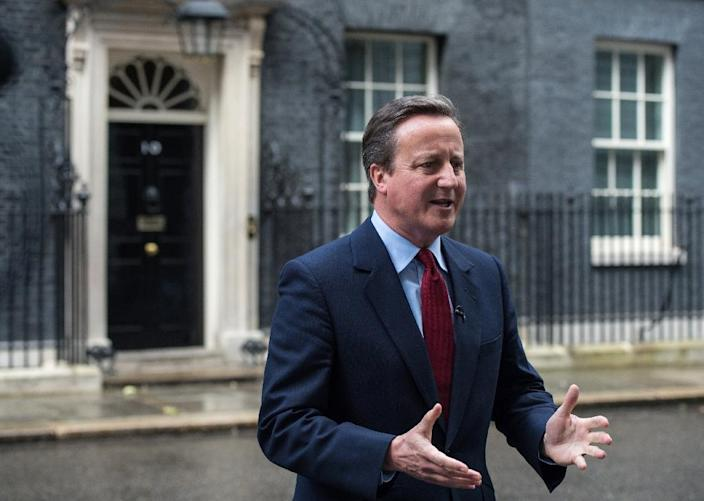 British Prime Minister David Cameron addresses the media outside 10 Downing Street in London on July 11, 2016, where he announced that Theresa May would be Britain's new leader (AFP Photo/Chris J Ratcliffe)