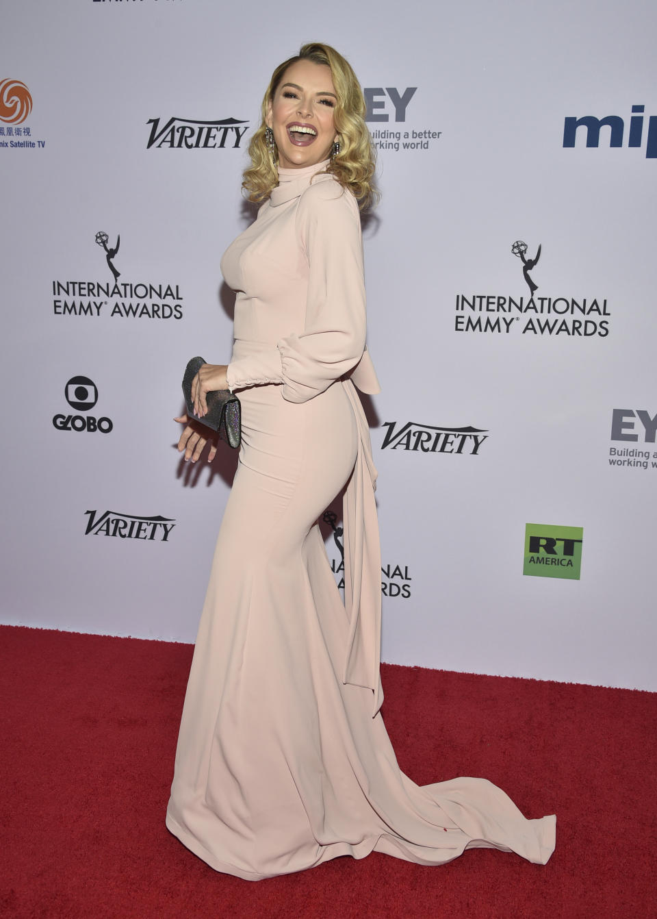Marjorie de Sousa arrives at the 47th International Emmy Awards gala at the Hilton Hotel on Monday, Nov. 25, 2019, in New York. (Photo by Evan Agostini/Invision/AP)