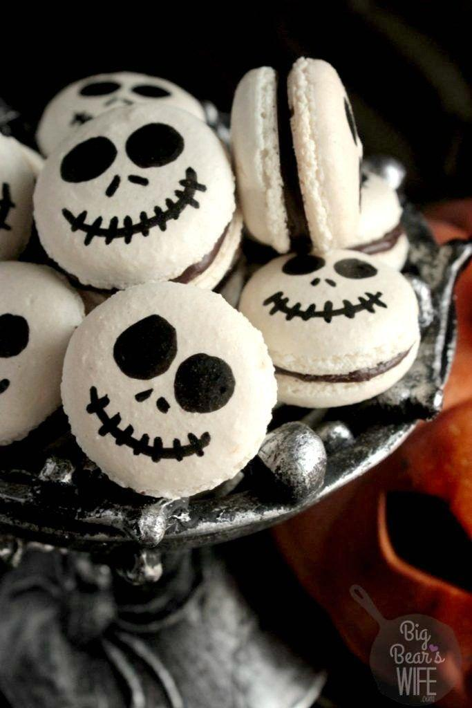 "<p>You can't celebrate Halloween without the Pumpkin King.</p><p>Get the recipe from <a href=""http://www.bigbearswife.com/jack-skellington-macarons/#comment-10226"" rel=""nofollow noopener"" target=""_blank"" data-ylk=""slk:Big Bear's Wife"" class=""link rapid-noclick-resp"">Big Bear's Wife</a>.</p>"