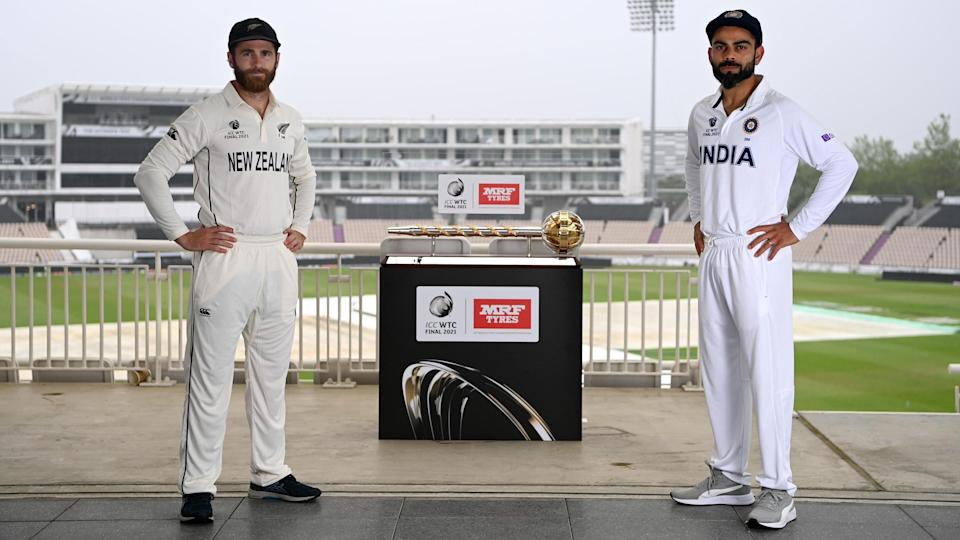 """<div class=""""paragraphs""""><p>Virat Kohli and Kane Williamson stand with ICC Test Mace before the WTC Final. </p></div>"""