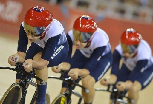 Britain's Dani King, Laura Trott and Joanna Rowsell compete to win the gold medal