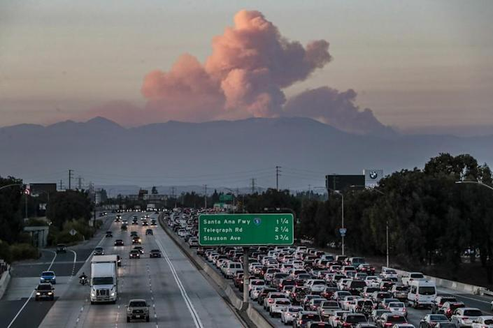 Norwalk, CA, Sunday, Sept. 20, 2020 - The Bobcat Fire, as seen from the 105/605 interchange, continues to burn, becoming one of the largest fires in LA County history. (Robert Gauthier/ Los Angeles Times)