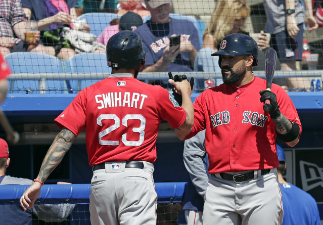 After hitting a home run in the fifth inning against the Toronto Blue Jays, Boston Red Sox's Blake Swihart (23) gets a fist-bump from teammate Sandy Leon, right, in a spring baseball exhibition game, Monday, March 12, 2018, in Dunedin, Fla. (AP Photo/John Raoux)