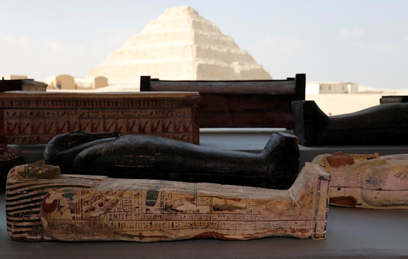 Egypt unearths 2,500-year-old tomb containing 100 mummies and 40 golden statues