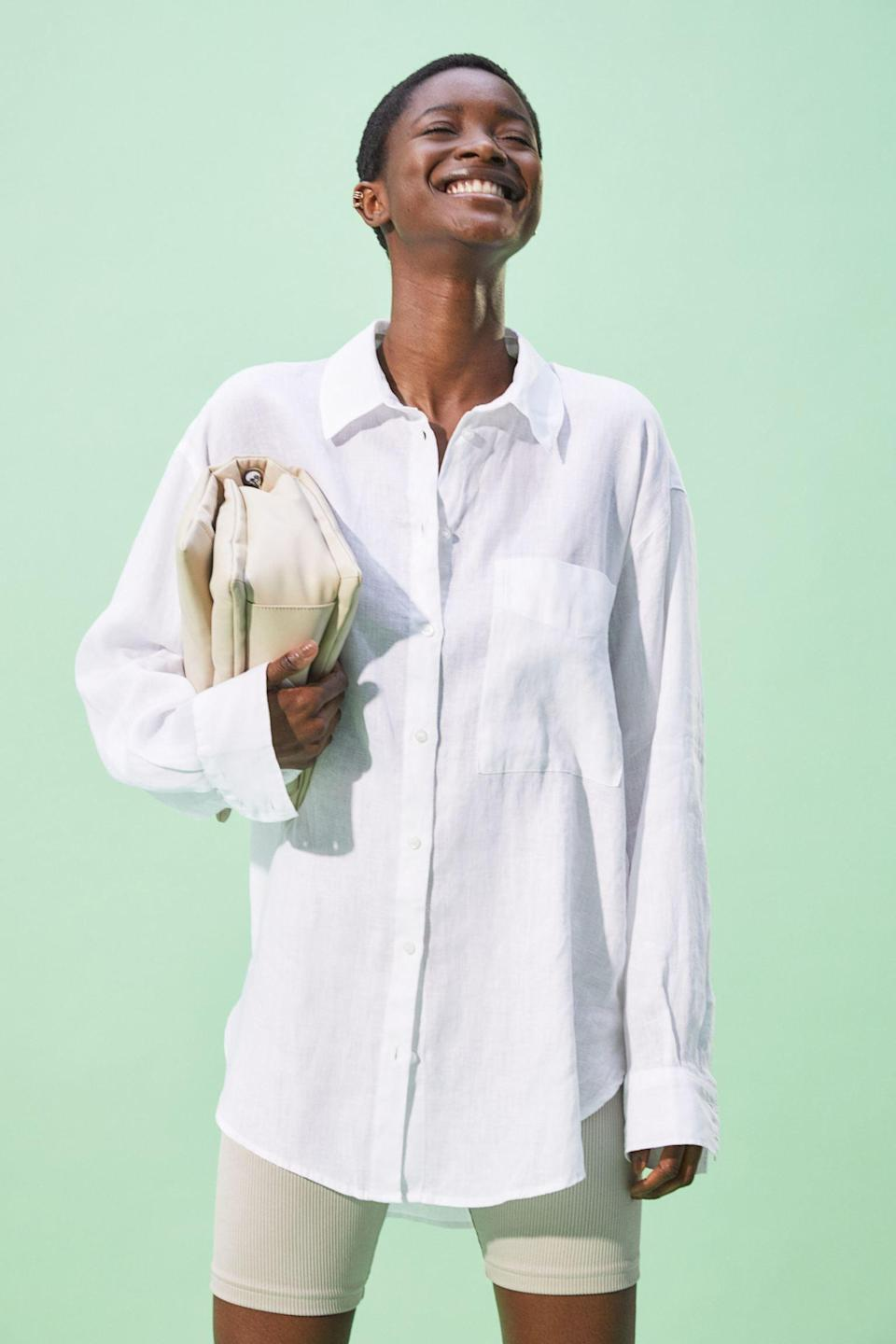 <p>You can style this classic <span>H&amp;M Linen Shirt</span> ($30) so many ways.</p>