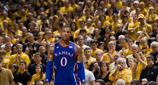 Kansas' Thomas Robinson looks to the sideline in the final seconds of the second half of an NCAA college basketball game against Missouri,Saturday, Feb. 4, 2012, in Columbia, Mo. Missouri won the game 74-71. (AP Photo/L.G. Patterson)
