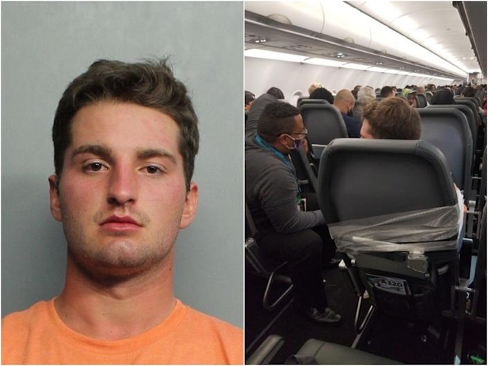A passenger on a Frontier Airlines flight was duct-taped to his chair after punching a male flight attendant and groping female members of the crew. (Miami Dade County Corrections / Alfredo Rivera)