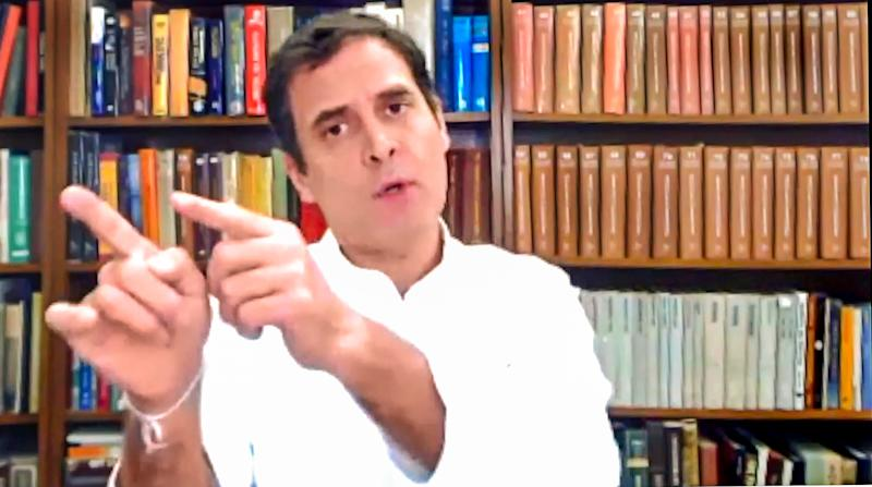 **EDS: SCREENSHOT FROM A LIVESTREAM ON TUESDAY, SEPT. 29, 2020** New Delhi: Congress leader Rahul Gandhi interacts with farmers as he discusses the three agricultural reform bills passed in the recently concluded Monsoon Session of Parliament, via video conferencing, in New Delhi. (PTI Photo)(PTI29-09-2020_000033B)