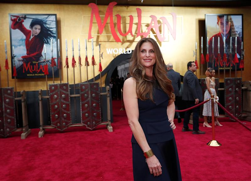 "Director Niki Caro poses at the premiere for the film ""Mulan"" in Los Angeles, California, U.S., March 9, 2020. REUTERS/Mario Anzuoni"