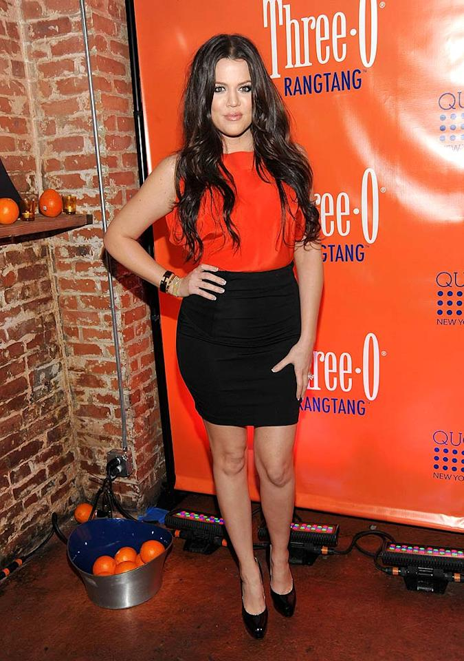 """Khloe Kardashian decided to make a little extra cash by hosting Three-O Vodka's Rangtang Launch Party at club Quo in NYC. Jamie McCarthy/<a href=""""http://www.wireimage.com"""" target=""""new"""">WireImage.com</a> - February 23, 2010"""