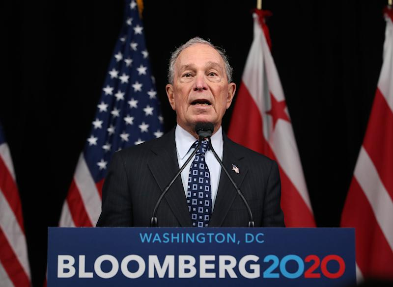 Former New York Mayor Michael Bloomberg campaigns in Washington, D.C., on Jan. 30, 2020.
