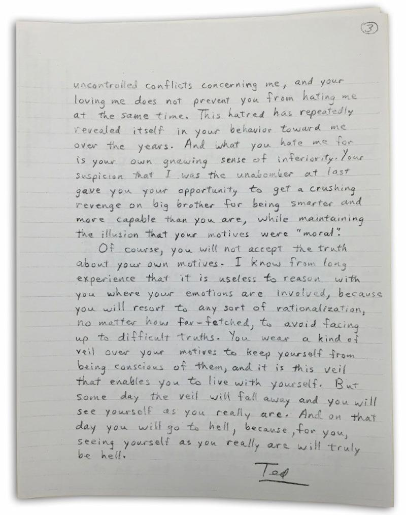 This is the third part to one of Kaczynski's letters to his brother David. Photo: Yahoo US