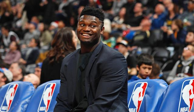 """Unless the Pelicans are in the business of teasing their fans, <a class=""""link rapid-noclick-resp"""" href=""""/nba/players/6163/"""" data-ylk=""""slk:Zion Williamson"""">Zion Williamson</a>'s return is indeed imminent. (AP Photo/David Zalubowski)"""